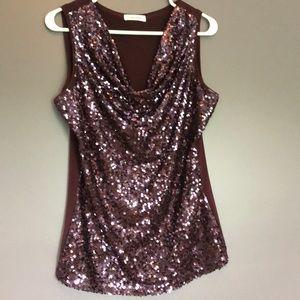 Purple sequined sleeveless top